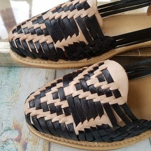 b5b7bef7ff2c Handmade Shoes - New Black Tan Handmade Mexican Huaraches Sandals